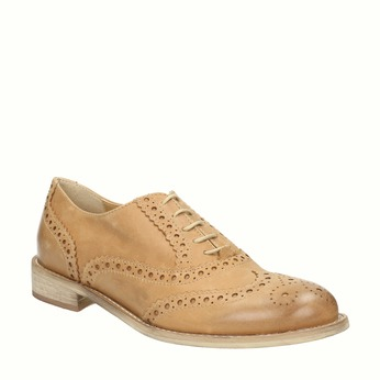 Leather Oxfords with Brogue decorations bata, brown , 524-3482 - 13