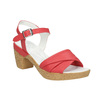 Low-heel leather sandals bata-touch-me, red , 666-5203 - 13