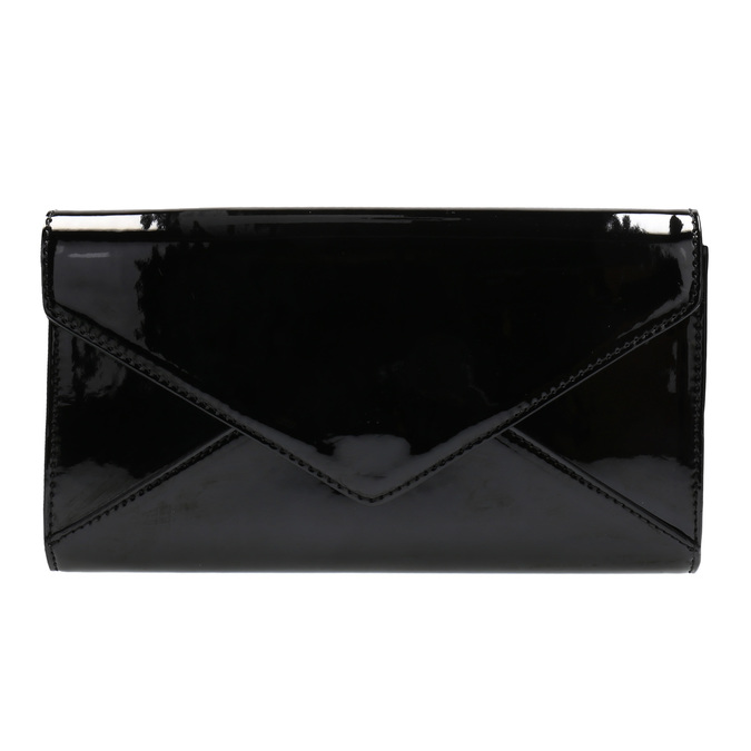 Black women's clutch bag in a lacquered finish bata, black , 961-6624 - 19