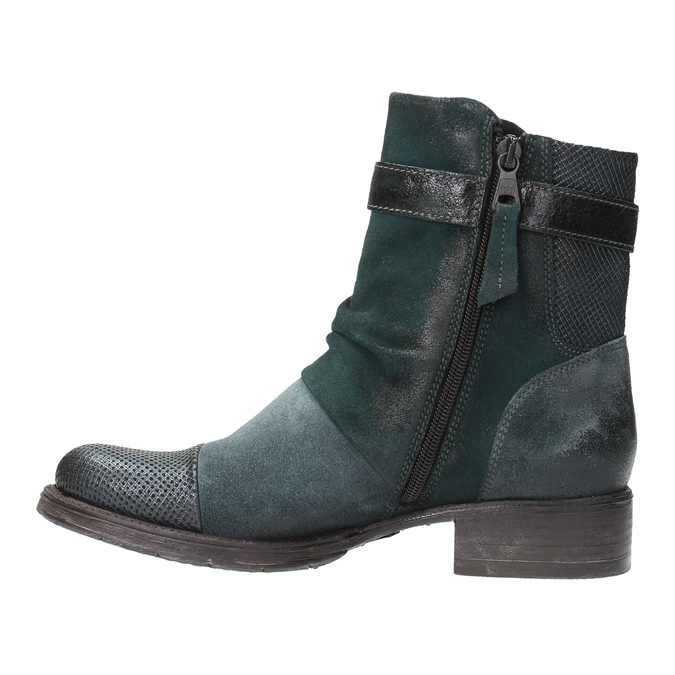 Leather ankle boots with silver details bata, turquoise, 596-9614 - 26
