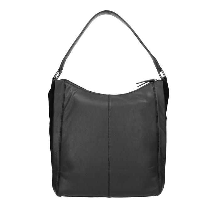 Hobo-style black leather handbag, black , 964-6254 - 19