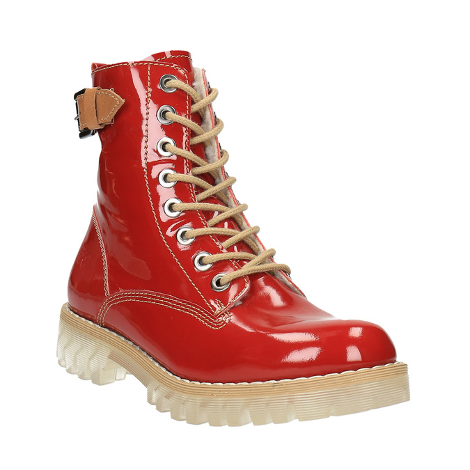 Leather ankle boots with a transparent sole weinbrenner, red , 598-5602 - 13