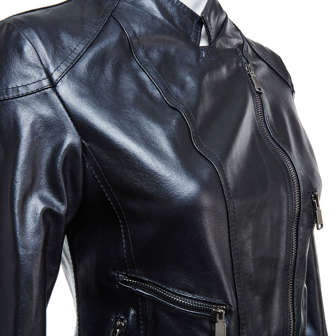 Ladies' leather jacket with zips bata, black , 974-6162 - 16