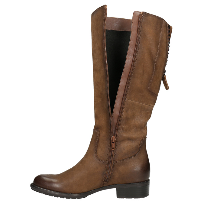 Brown leather Cossacks bata, brown , 596-4604 - 26