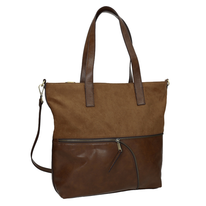 Ladies' handbag with asymmetric zip, brown , 961-3847 - 13