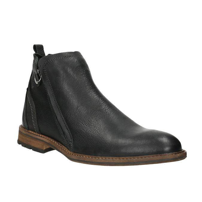 Men's leather ankle boots bata, black , 894-6660 - 13