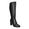 Leather high boots for broader calves bata, black , 694-6635 - 13