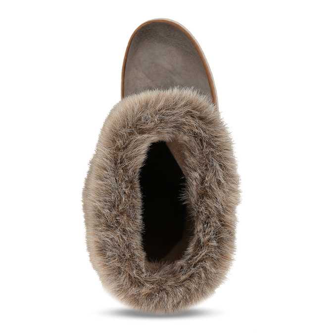 Leather winter shoes with fur, gray , 596-2633 - 17