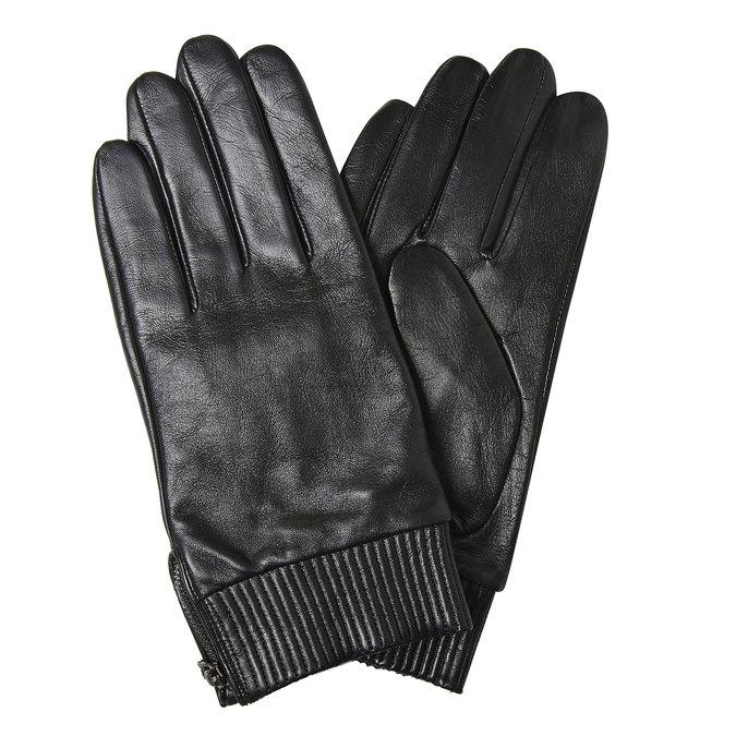 Men's leather gloves bata, black , 904-6128 - 13