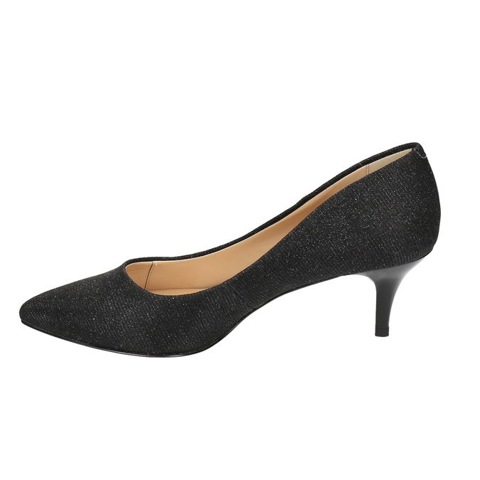 Elegant low-heeled pumps bata, black , 629-6631 - 26