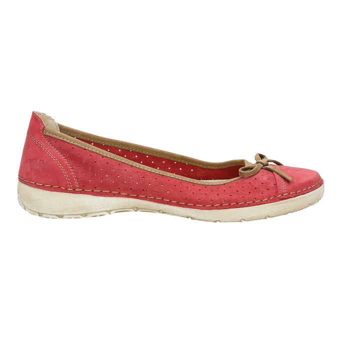 Casual leather ballerinas weinbrenner, red , 526-5503 - 15