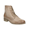 Leather ankle boots with perforated pattern bata, brown , 596-4646 - 13