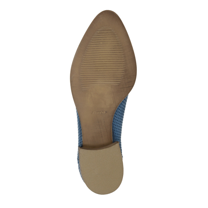 Leather high ankle boots with perforations bata, blue , 596-9647 - 26