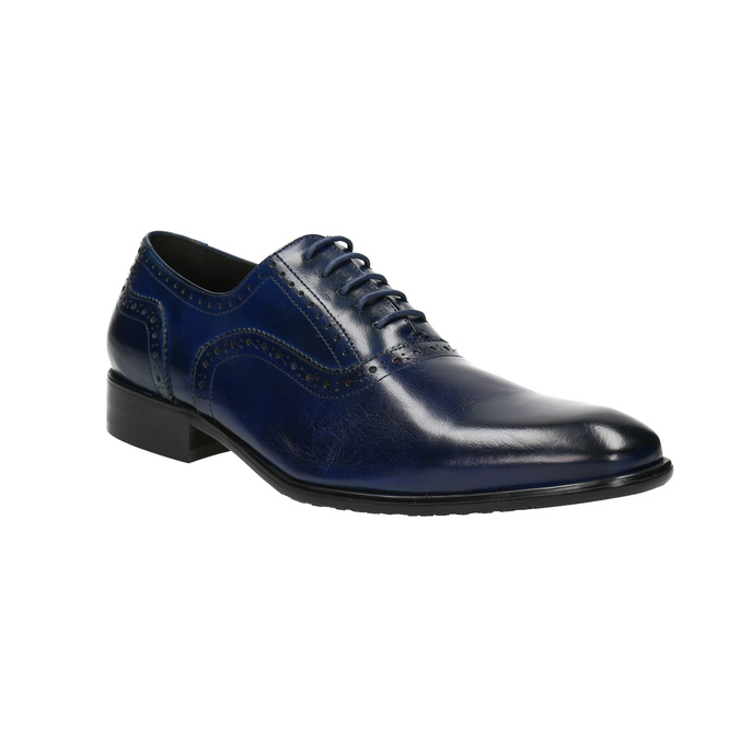 Blue leather Oxford shoes bata, blue , 826-9822 - 13