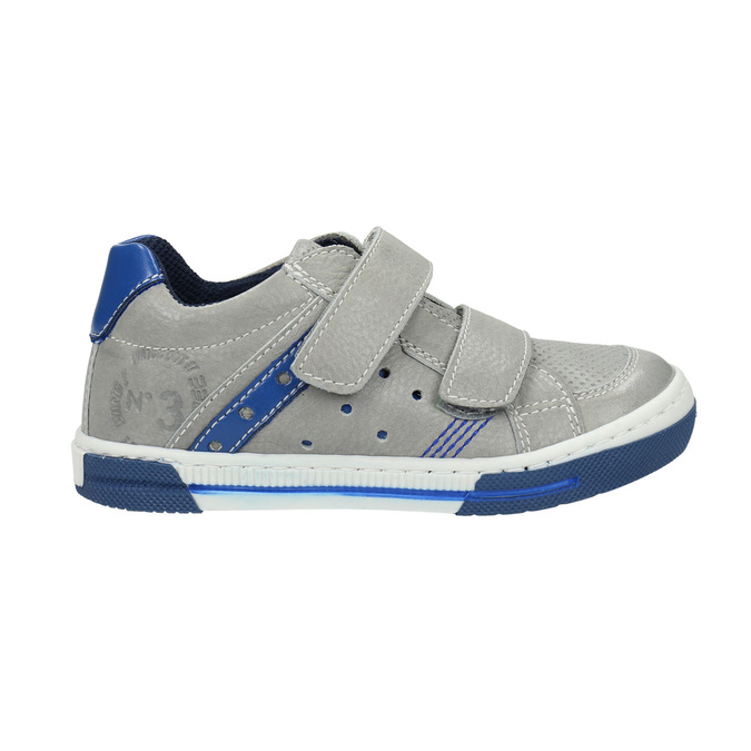Children's leather sneakers with Velcro fastening mini-b, gray , 214-2600 - 15