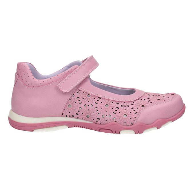 Girls' pink ballet pumps with strap across instep bubblegummer, pink , 321-5603 - 15
