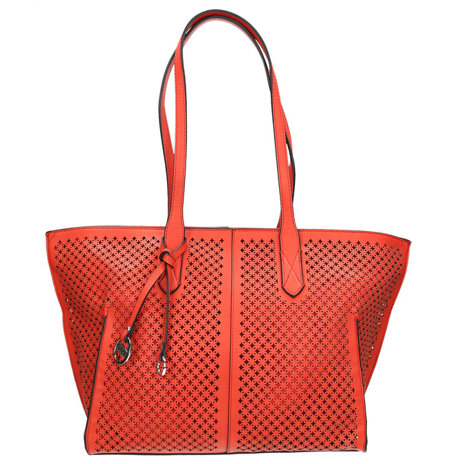 Red handbag with perforations gabor-bags, red , 961-5080 - 26