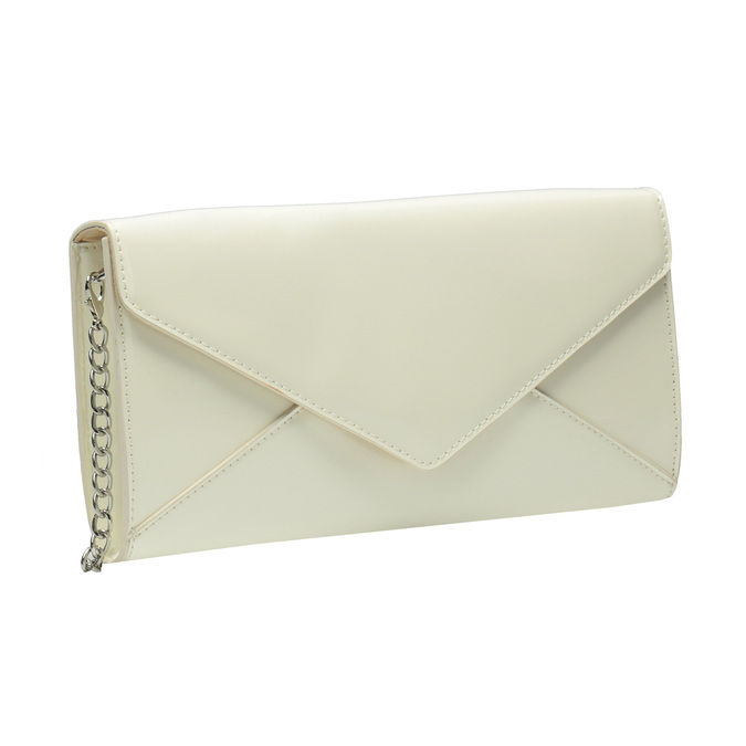 Patent leather envelope handbag with chain bata, beige , 961-1685 - 13