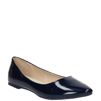 Ladies' patent leather ballerinas bata, blue , 521-2602 - 13