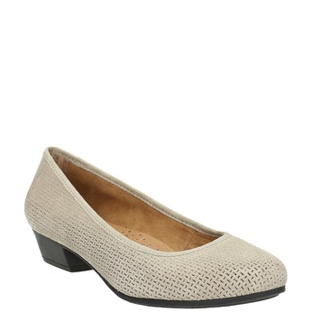 Leather pumps width H bata, gray , 623-2601 - 13