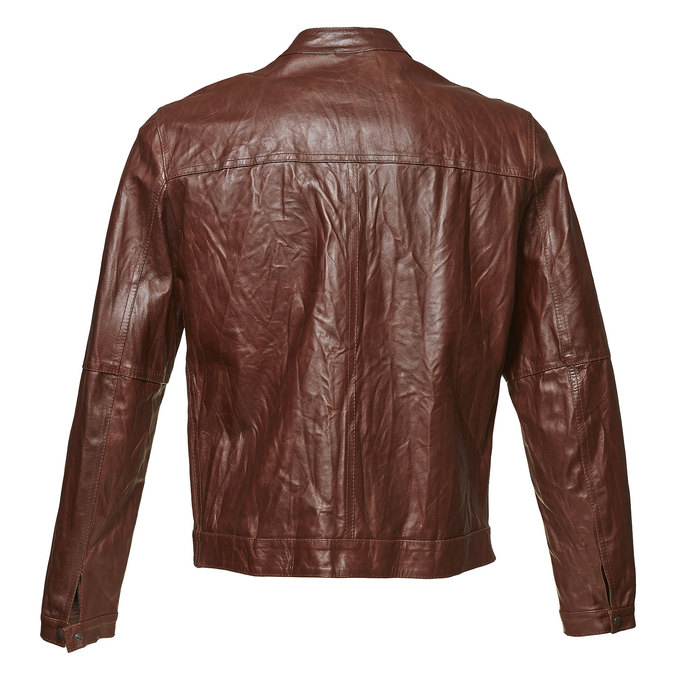 Women's leather jacket with trendy quilting, brown , 974-4142 - 26