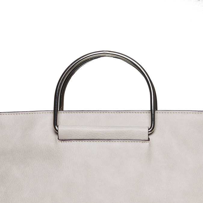 Ladies' cream handbag bata, gray , 961-8327 - 17