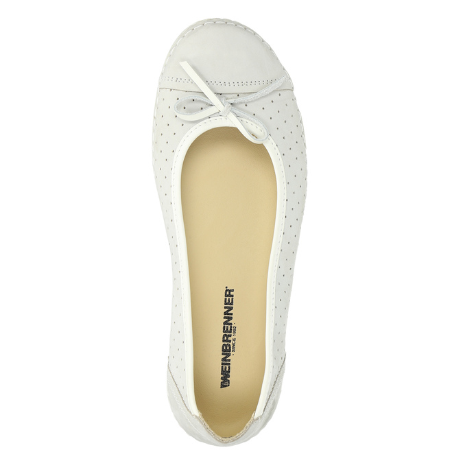 Perforated leather ballerina shoes weinbrenner, white , 526-1634 - 19