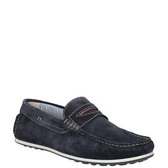 Brushed leather moccasins bata, blue , 853-9614 - 13
