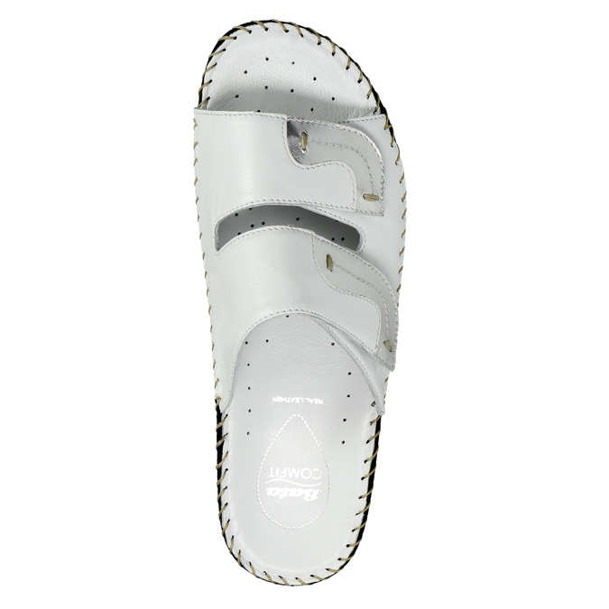 Leather slippers, white , 674-1600 - 19