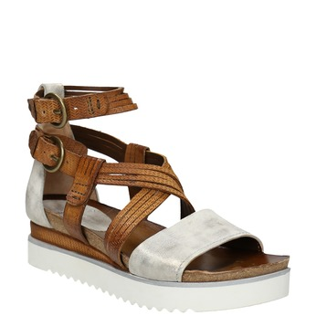 Leather flatform sandals bata, brown , 666-1605 - 13