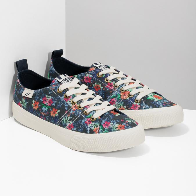 Ladies' sneakers with floral pattern north-star, black , 589-6446 - 26