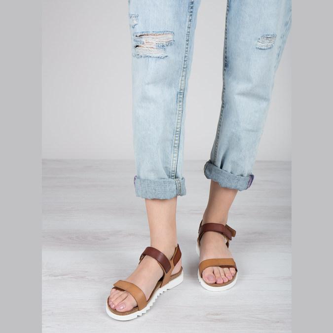 Ladies' leather sandals weinbrenner, brown , 566-4630 - 18