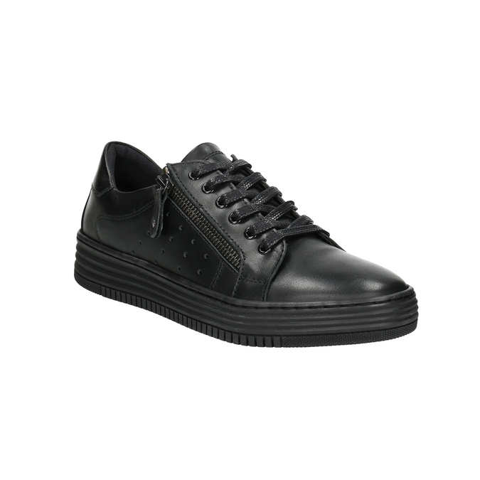 Ladies' leather sneakers bata, black , 526-6630 - 13