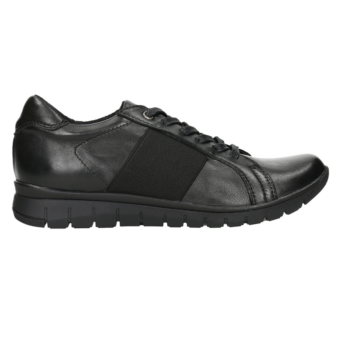 Casual leather sneakers bata, black , 524-6606 - 15