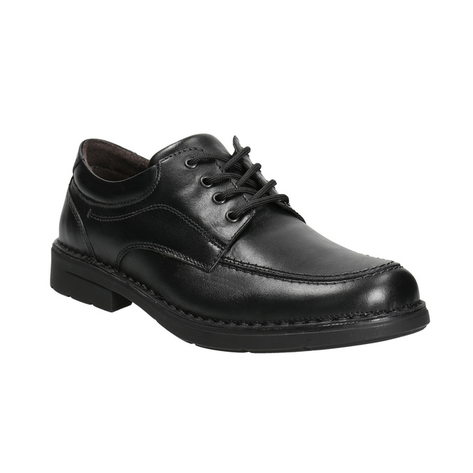 Casual leather shoes with stitching, black , 824-6987 - 13