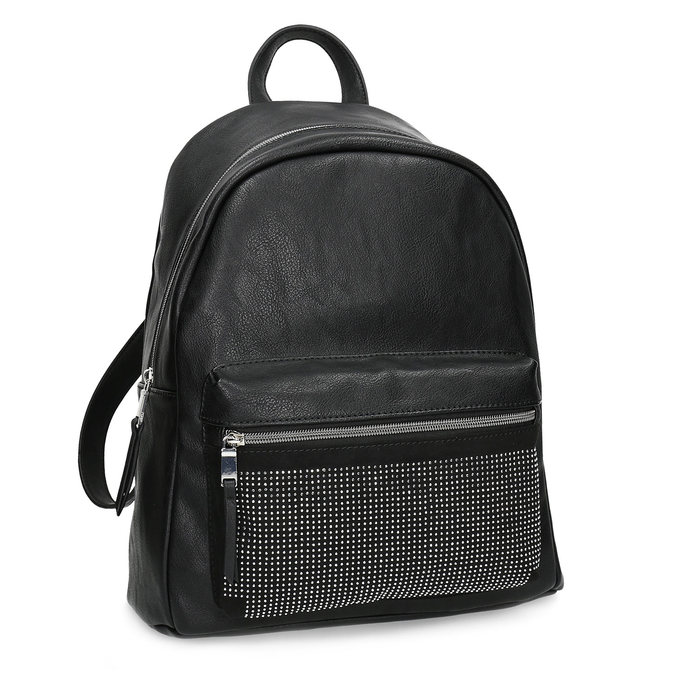 Black backpack with rhinestones bata, black , 961-6855 - 13