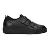 Black leather sneakers with Velcro bata, black , 526-6646 - 26