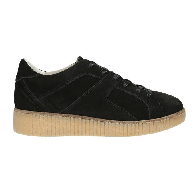 Leather sneakers with distinctive flatform bata, black , 523-6604 - 15