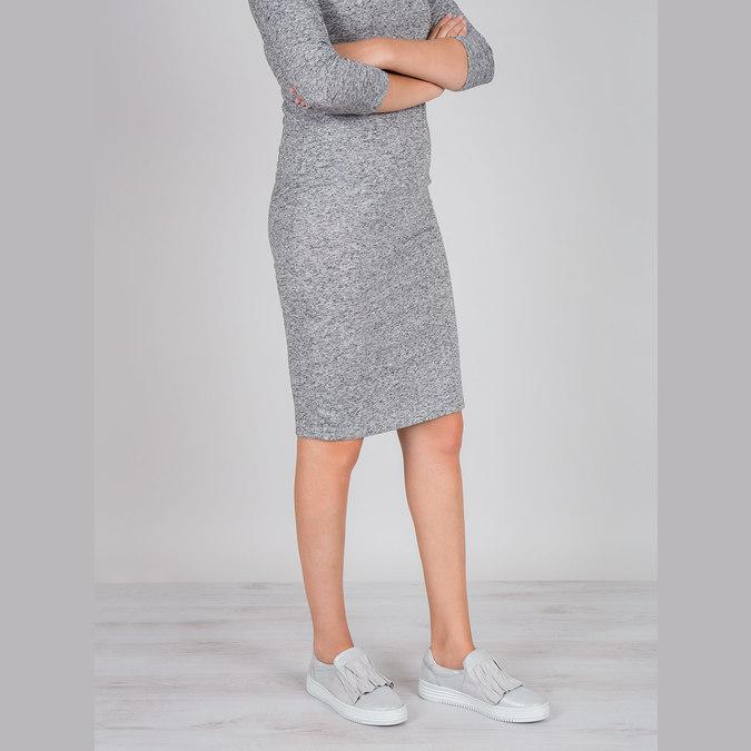 Ladies' leather slip-ons bata, gray , 516-1614 - 18