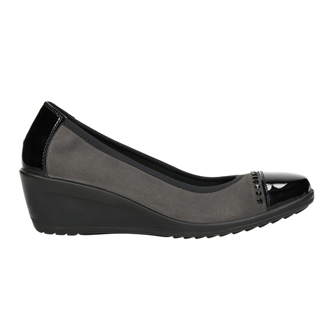 Leather pumps on a wedge heel, gray , 626-2644 - 15