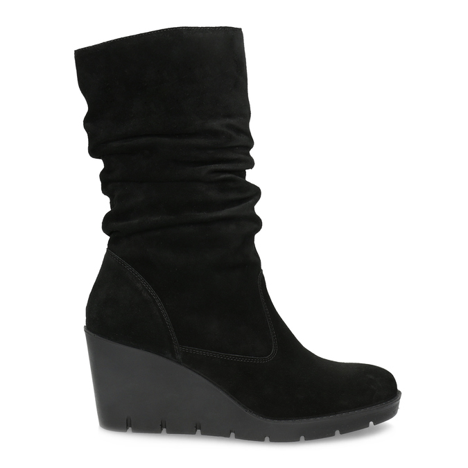 Ladies' Black Wedge High Boots bata, black , 796-6646 - 19