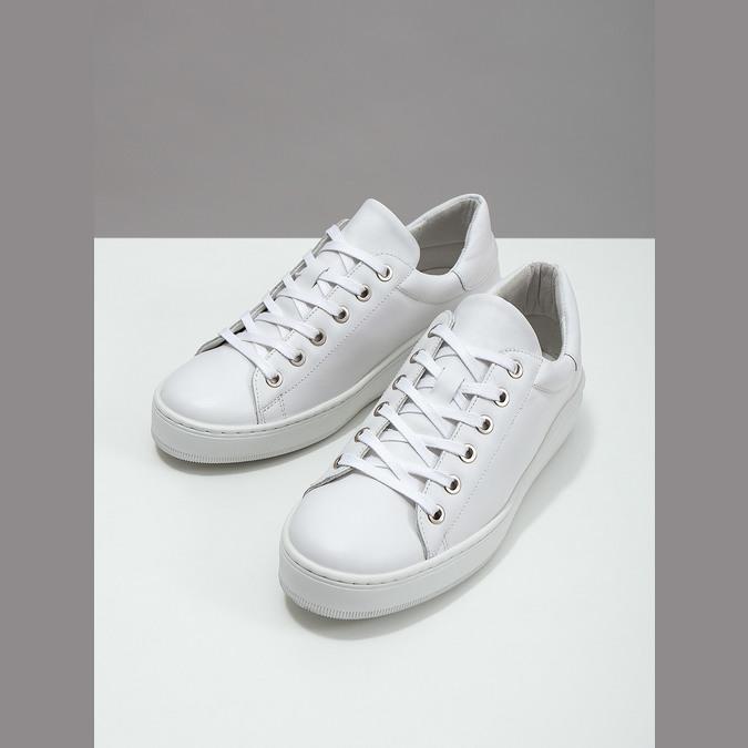 White leather sneakers bata, white , 526-1641 - 18