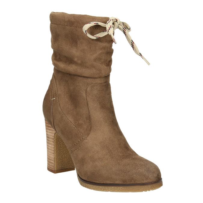 Brown heeled high boots bata, brown , 799-3613 - 13