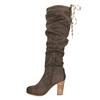 Ladies' wrinkled high boots bata, brown , 799-4614 - 26