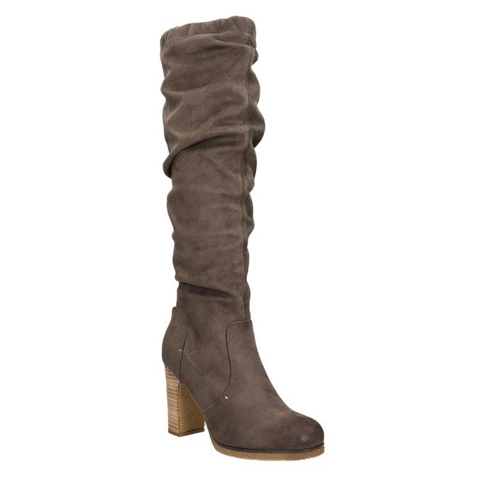 Ladies' wrinkled high boots bata, brown , 799-4614 - 13