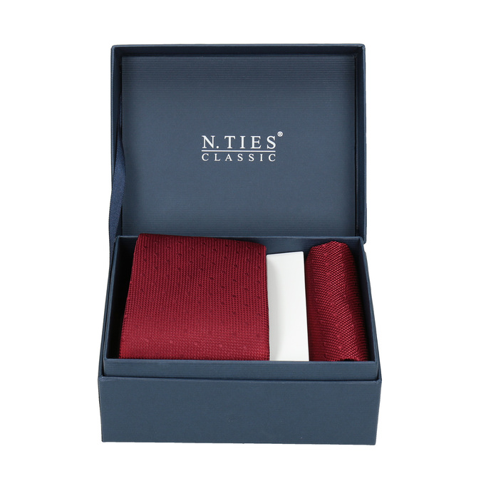 Red Tie and Handkerchief Set bata, red , 999-5290 - 13