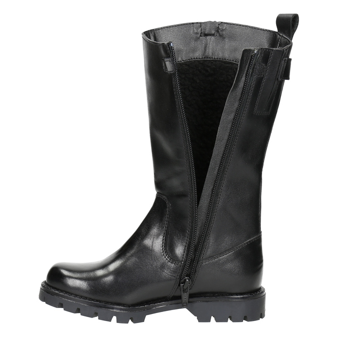 Girls' Leather High Boots mini-b, black , 394-6192 - 26