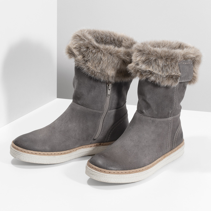 Leather winter shoes with fur weinbrenner, gray , 596-2633 - 16