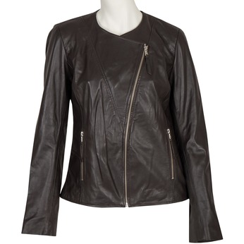 Ladies' Leather Jacket with Asymmetric Zip bata, brown , 974-4177 - 13