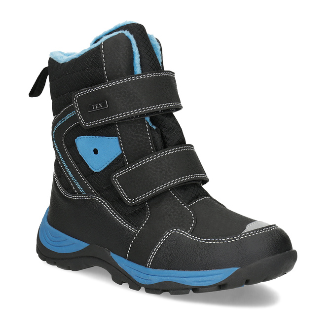 Children's Winter Boots with Hook-and-Loop Closures mini-b, black , 491-6653 - 13